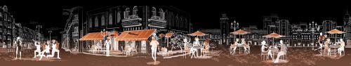 Скинали - Векторный город с эффектом ночи