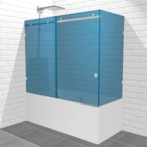 Шторка для ванны угловая раздвижная, 1 дверь