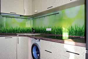 Трава для скинали в интерьере кухни - 22052