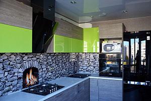 Огонь для скинали в интерьере кухни - 22156