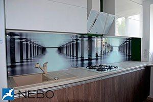 Абстракции для скинали в интерьере кухни - 21967