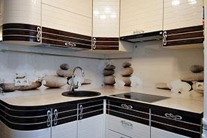 Орхидеи для скинали в интерьере кухни - 22103