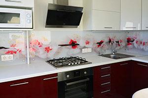 Вишня, яблоня для скинали в интерьере кухни - 22173