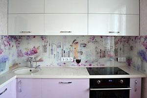 Цветы сакуры для скинали в интерьере кухни - 22205