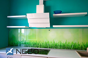Трава для скинали в интерьере кухни - 21555