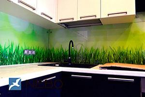 Трава для скинали в интерьере кухни - 21565