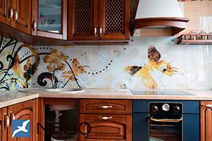 Цветочные для скинали в интерьере кухни - 21566