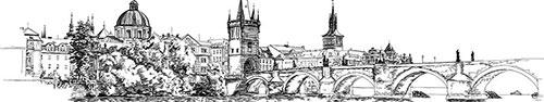 Скинали - Вид на Карлов мост и набережную реки Влтава (Прага, Чехия)