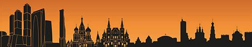 Скинали - Контуры достопримечательностей Москвы в оранжевых тонах
