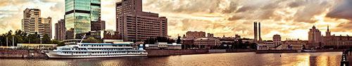 Скинали - Паром на фоне Москва-сити на закате