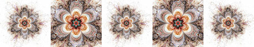 Скинали - Ритм красочного фрактального цветка на белом фоне
