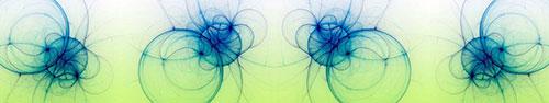 Скинали - Синие светящиеся окружности на бело-салатовом фоне