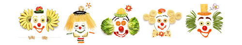 Скинали - Улыбающиеся клоуны из овощей и фруктов на белом фоне