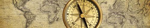 Скинали - Старинная карта мира с компасом