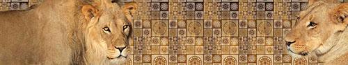 Скинали - Африканские львы на абстрактном геометрическом узоре