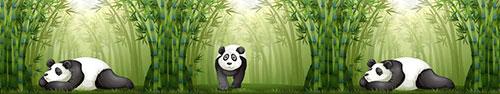 Скинали - Панда в бамбуковом лесу, иллюстрация