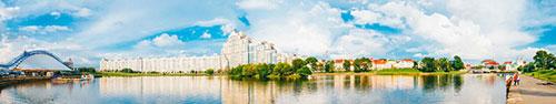Скинали - Панорама центра в Минске, Немига, Свислочь