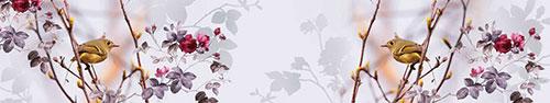 Скинали - Птичка на ветке, коллаж с цветами