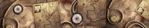 Скинали - Ретро коллаж на тему путешествий с картой 17-ого века
