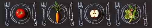 Скинали - Полезные продукты на нарисованных мелом тарелках