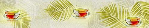Скинали - Мятный чай с лимоном на фоне пальмовых веток (с эффектом царапин на изображении)