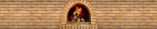 Скинали - Светлая кирпичная стена с камином
