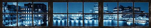 Скинали - Вид из окна на ночную панораму Лондона, Мост Саутворк
