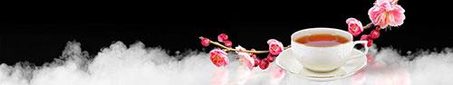 Скинали - Цветущая веточка с чашкой чая на фоне белого дыма
