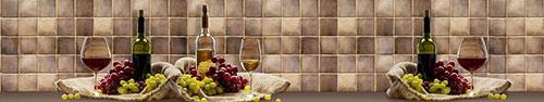 Скинали - Вино и виноград у стенки, отделанной плиткой