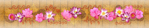 Скинали - Лотосы на плитке с индийскими узорами