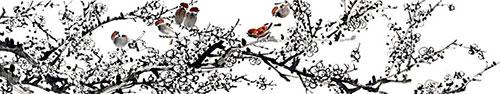 Скинали - Традиционная китайская живопись, цветение сакуры