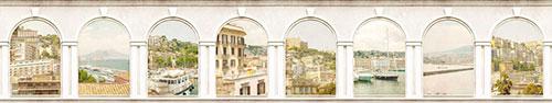 Скинали - Состаренные арки-окна на виды города Неаполь, Италия