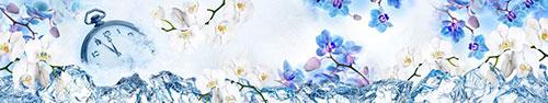Скинали - Часы в снегу, лед, и ветки орхидей