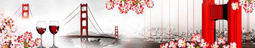 Скинали - Цветение красного кизила с видом на Мост в Сан-Франциско