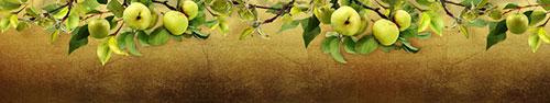 Скинали - Ветки с яблоками на темно-золотистом фоне