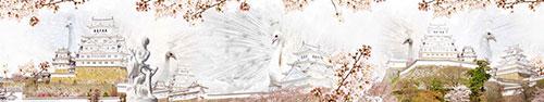 Скинали - Белые павлины на фоне замка Химэдзи в Японии