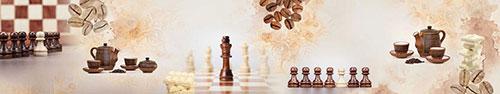 Скинали - Шахматно-кофейный коллаж с кусочками белого шоколада