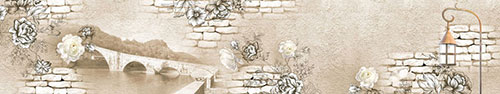 Скинали - Стена с розами, изображением моста и старинным уличным фонарем