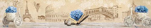 Скинали - Винтажный фон с голубой гортензией