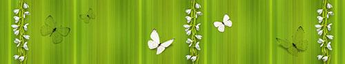 Скинали - Белые бабочки и подснежники на зеленом фоне