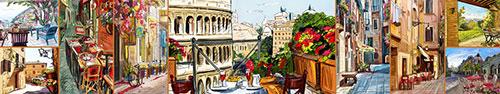 Скинали - Улицы Рима и других городов Италии в иллюстрациях, коллаж