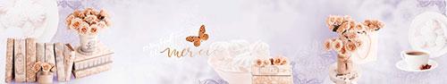 Скинали - Воздушный зефир, винтажные книги и розочки на светлом фоне