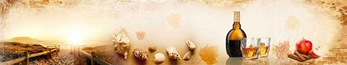Скинали - Закат на пляже, осенние листья, яблоко и бутылка виски
