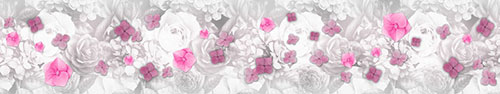 Скинали - Цветочки гортензии на фоне акварельных цветов