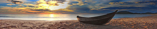 Скинали - Лодка рыбака на берегу в закат