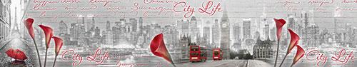 Скинали - Города мира с красными надписями и цветами