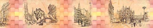 Скинали - Улицы Милана на абстрактном фоне