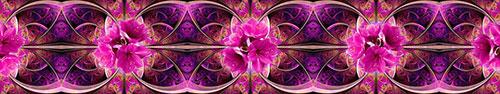 Скинали - Розовые цветы на фоне фрактальной абстракции