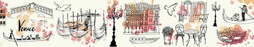 Скинали - Рисунки Венеции на светлом фоне