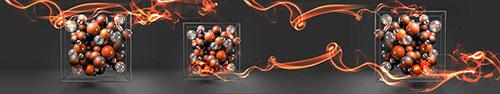 Скинали - Оранжевые шары в кубе на сером фоне
